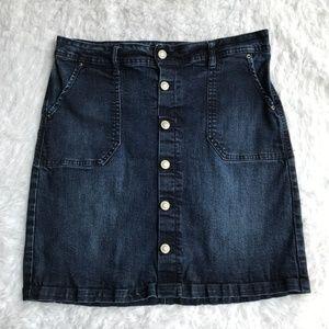 Kensie Button Front Denim Skirt Dark Wash Size 28